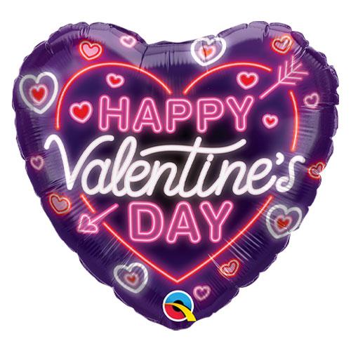 Valentine's Day Neon Glow Heart Shape Qualatex Foil Helium Balloon 46cm / 18 in