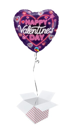 Valentine's Day Neon Glow Heart Shape Qualatex Foil Helium Balloon - Inflated Balloon in a Box