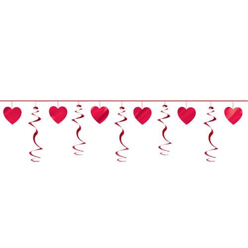 Valentine's Hearts Swirl Garland Hanging Decoration 3.65m