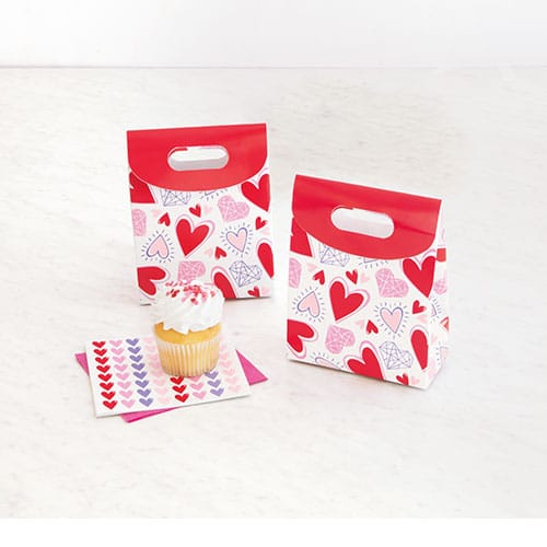 Valentine's Sparkling Hearts Paper Favour Boxes - Pack of 4