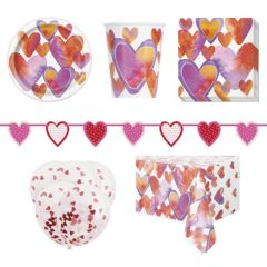 Watercolour Valentine Hearts 8 Person Deluxe Party Pack