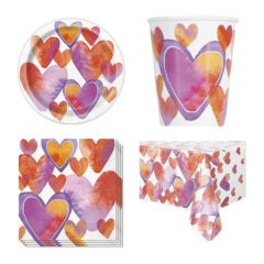 Watercolour Valentine Hearts 8 Person Value Party Pack