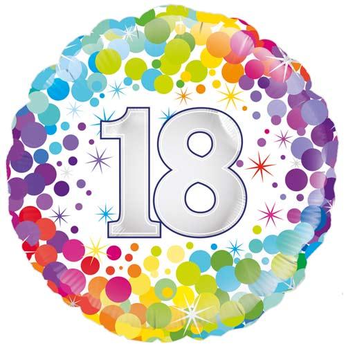 Age 18 Colourful Confetti Round Foil Helium Balloon 46cm / 18 in