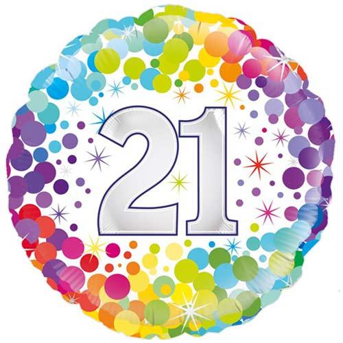 Age 21 Colourful Confetti Round Foil Helium Balloon 46cm / 18 in