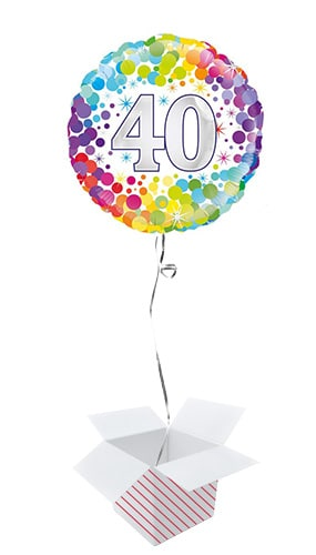 Age 40 Colourful Confetti Round Foil Helium Balloon - Inflated Balloon in a Box