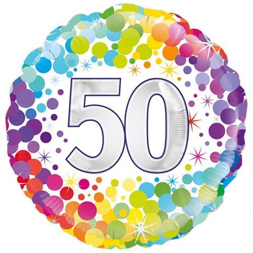 Age 50 Colourful Confetti Round Foil Helium Balloon 46cm / 18 in