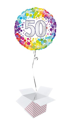 Age 50 Colourful Confetti Round Foil Helium Balloon - Inflated Balloon in a Box