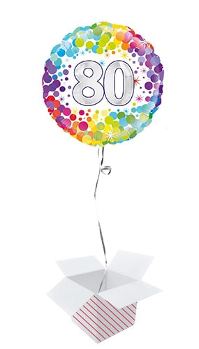 Age 80 Colourful Confetti Round Foil Helium Balloon - Inflated Balloon in a Box