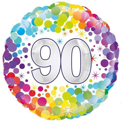 Age 90 Colourful Confetti Round Foil Helium Balloon 46cm / 18 in
