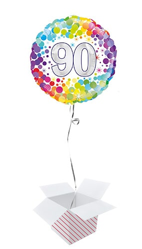 Age 90 Colourful Confetti Round Foil Helium Balloon - Inflated Balloon in a Box