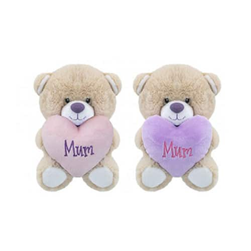 Assorted Mum Bear with Heart Soft Toy