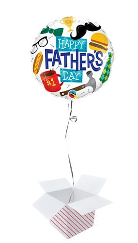 Everything Father's Day Round Foil Helium Qualatex Balloon - Inflated Balloon in a Box