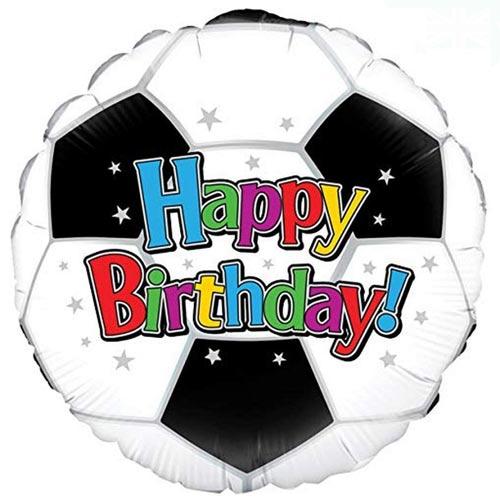 Football Happy Birthday Round Foil Helium Balloon 46cm / 18 in