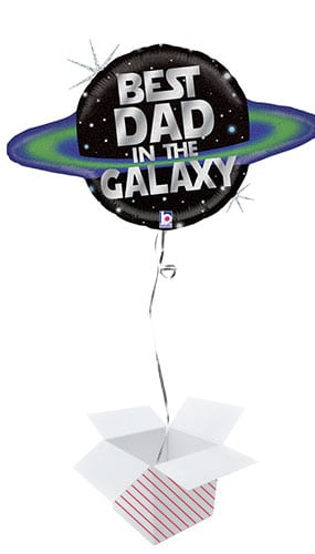Galactic Dad Holographic Helium Foil Giant Balloon - Inflated Balloon in a Box