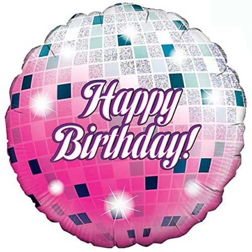 Glitterball Birthday Holographic Round Foil Helium Balloon 46cm / 18 in