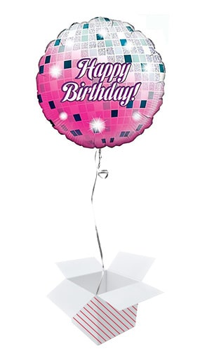 Glitterball Birthday Holographic Round Foil Helium Balloon - Inflated Balloon in a Box