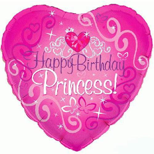 Happy Birthday Princess Holographic Heart Foil Helium Balloon 46cm / 18 in