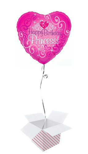 Happy Birthday Princess Holographic Heart Foil Helium Balloon - Inflated Balloon in a Box