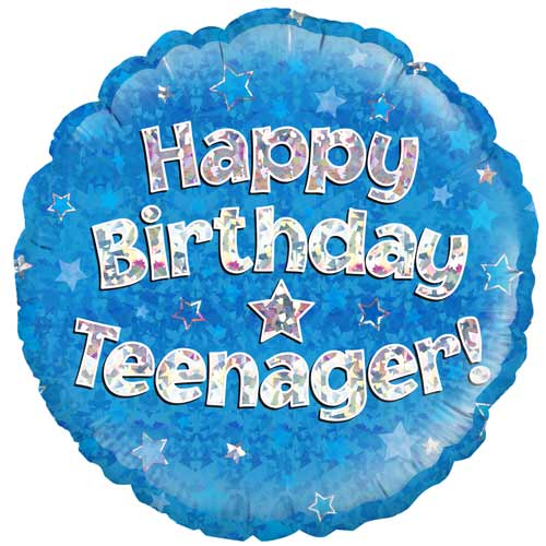 Happy Birthday Teenager Blue Holographic Round Foil Helium Balloon 46cm / 18 in