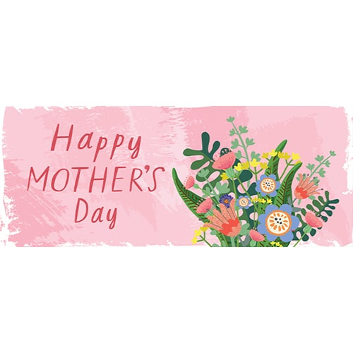 Happy Mother's Day Wild Flowers PVC Party Sign Decoration 60cm x 25cm