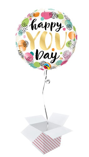 Happy You Day Round Foil Helium Qualatex Balloon - Inflated Balloon in a Box