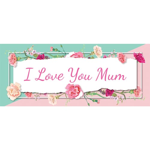I Love You Mum Pastel Mother's Day PVC Party Sign Decoration 60cm x 25cm