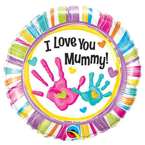 I Love You Mummy Handprints Round Foil Helium Balloon 46cm / 18 in