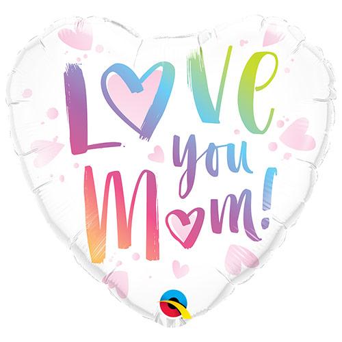 Love You Mum Heart Shape Foil Helium Balloon 46cm / 18 in