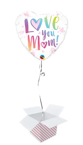 Love You Mum Heart Shape Foil Helium Balloon - Inflated Balloon in a Box