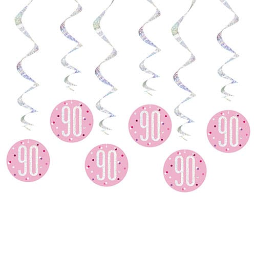 Pink Glitz Age 90 Holographic Hanging Swirl Decorations - Pack of 6