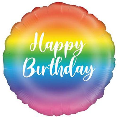 Rainbow Script Birthday Round Foil Helium Balloon 46cm / 18 in