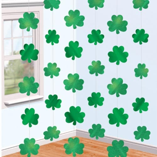 St. Patrick's Shamrock String Hanging Decorations - Pack of 6