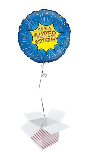 Super Birthday Blue Round Foil Helium Balloon - Inflated Balloon in a Box