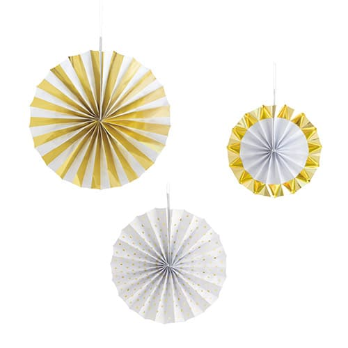 White & Gold Foiled Paper Fans Hanging Decorations - Pack of 3