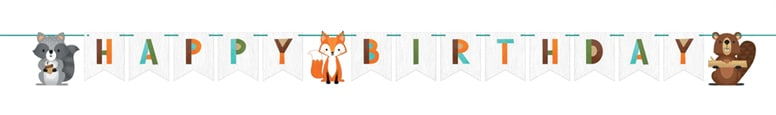 Woodland Animals Happy Birthday Cardboard Banner 249cm