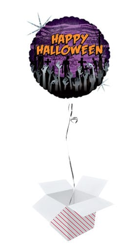 Cemetery Zombie Halloween Holographic Round Foil Helium Balloon - Inflated Balloon in a Box