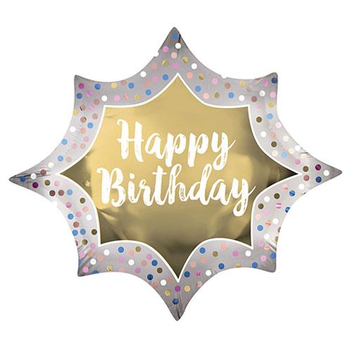 Happy Birthday Satin Luxe Gold Burst Helium Foil Giant Balloon 88cm / 35 in