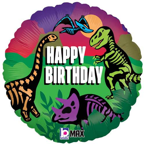 Jurassic Dinosaurs Birthday Holographic Round Foil Helium Balloon 46cm / 18 in