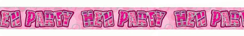 Pink Glitz Hen Party Holographic Foil Banner 274cm