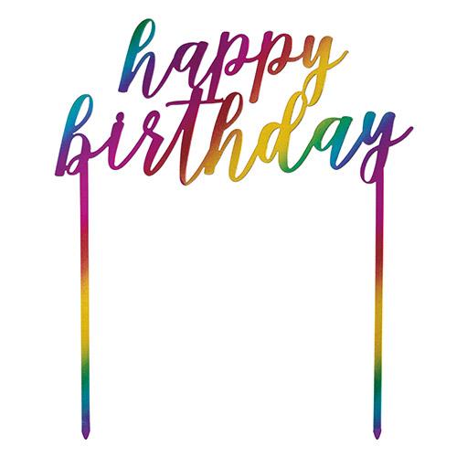 Metallic Rainbow Happy Birthday Plastic Cake Topper 17cm